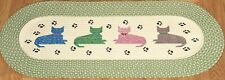 Collections Etc Meow Paw Print Braided Rug 48 x 20