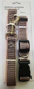 Adjustable Check Plaid Nylon Dog Collars(36-59cm) & Long Leads(120cm) pink new