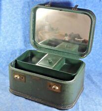 Vtg. Mid-Century JC Higgins Cosmetic Vanity Mirrored Hard Luggage Carry On-EUC