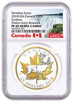 2018 Canada Icons Caribou Piedfort 1 oz Silver Gilt $25 NGC PF69 UC ER SKU52283