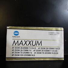 Used Minolta Maxxum AF 100-200mm 75-300mm 70-210mm 35-70mm Lens Manual Guide