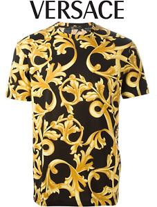 Versace Men's Black & Gold Royal Barocco Baroque Print Cotton T-Shirt Brand New