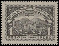 ✔️ COLOMBIA SCADTA 1923 - AIRPLANE OVER CITY - 1 PESO - SC. C47 ** MNH [SCDT36]