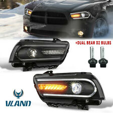 Set 2 LED DRL Headlight W/ Dual Beam Halogen Model For 2011-2014 Dodge Charger