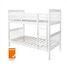 Bunk Bed Single over Single, White, Timber, Brighton.