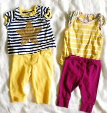 Old Navy/Baby Gap *2 Outfits* Girl's 0-3M Shirt Bodysuit Leggings Yellow Star