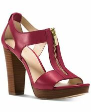 Michael KORS BERKLEY BERRY PLATFORM T STRAP GOLD ZIPPER SANDAL 6.5 I LOVE SHOES