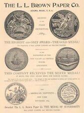 1894 BROWN PAPER MANUFACTURING Adams Massachusetts Paris Exposition Advertisemnt