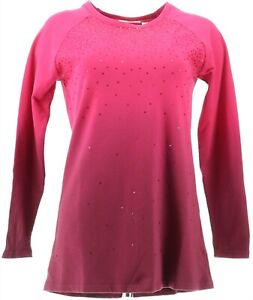 Quacker Factory Dip Dye Ombre French Terry Pullover Sequins Wine XXS NEW A292683