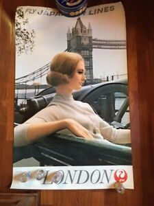 """1968 AIRLINES POSTER JAL ENGLAND VINTAGE LONDON TOWER USA 40"""" X 25"""".100 CM x 62"""