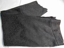 Jones New York Women's Black Floral Textured Tab Waist Tapered Dressy Capris