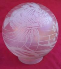 GAY FAD Modernism Fish Engraved Frosted Glass Ball Chandelier Fixture Signed