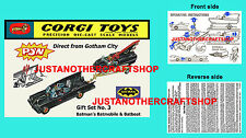 Corgi Toys Batmobile Batboat GS 3 Gift Set Instruction Leaflet and Poster Sign