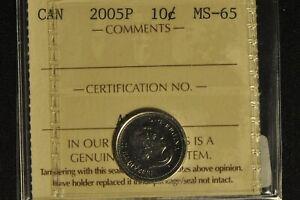 Canada 2005P Dime 10 Cent - ICCS - MS65 -