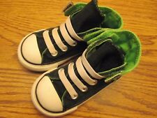 Converse All Star sz 6 black & green stretch lace canvas high top tennis shoes