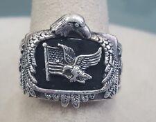 "Bradford Exchange ""God Bless America""  Eagle Onyx Sterling Silver Ring Sz 13.5"