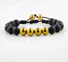 Herren Shamballa Onyx Matt perlen Armband Kugel Mode Neu Achat Hämatit Armreif