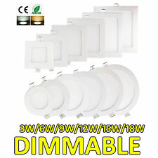 DIMMABLE LED SQUARE RECESSED CEILING PANEL DOWNLIGHT 3W 6W 9W 12W 15W 18W