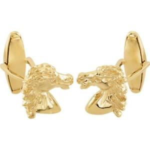 Spirit of the Andalusian Horse Breed Cufflinks 14K Yellow or White Gold