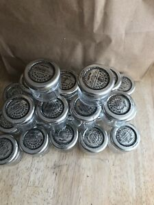 24 Small Empty Mini Glass Jars have Silvery Lids- Wedding Favours / Jam