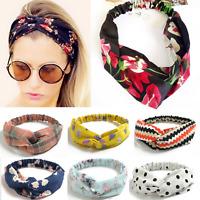 Damen Haarband Breites Floral Bandana Yoga Haarreif Twist Knoten Stirnband DF3