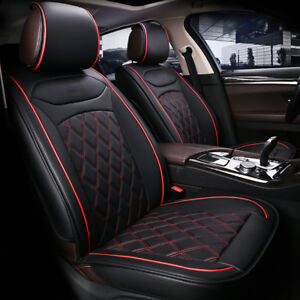 Deluxe Black Front Seat Covers PU Leather Honda Civic Accord CR-V HR-V