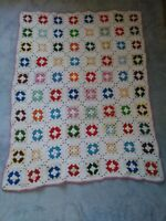 Vintage White Multi-Color Granny Square Afghan Throw Blanket 38 x 51