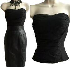 COAST Corset Top Size 12 Black Chiffon Silk Bustier Basque Ruched Minimalist EGA