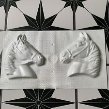 Vintage Thin Plastic Plaster Chalkware Horse Heads Equestrian Wall Plaque Mold