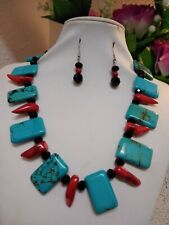 Coral Necklace With Earrings Amazing Handmade Turquoise And Red