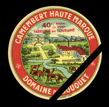 Original Vintage French Cheese Label: Camembert Tour Haute Marque