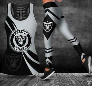 Oakland Raiders 2PCS Tank Top Leggings Women's High Waist Butt Lift Yoga Pants
