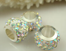 50PCS Listing High Quality CZ Crystals Beads fit European Charm Bracelet f5