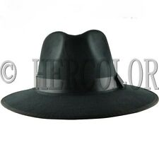 Men's Retro Style Genuine Black Felt Wide Brim Fedora Pork Pie Hat Cap