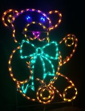 Christmas Toy Teddy Bear Holiday Outdoor LED Lighted Decoration Steel Wireframe