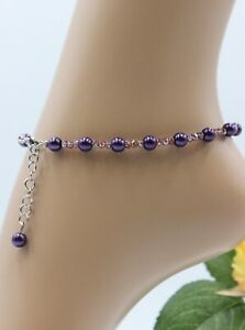 Glass Jewellery Stainless Steel Silver Anklet Beads Purple Strand Soft #J026