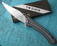 New Twosun Survival 14C28 G10 Fast Open Flipper Folder Knife TS127-G10-Crude
