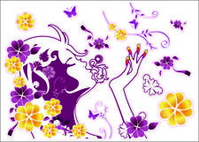 Pre-Cut Reusable Nail Design with Flowers Artwork Decor Wall Sticker Decal
