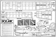AERO FLYTE SKYLARK FREE FLIGHT RUBBER MODEL PLAN WITH PARTS PATTERNS