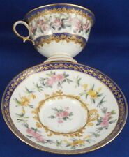 Sevres French Floral Blue & Gold Porcelain Cup & Saucer Porzellan Tasse French
