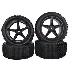RC 1:10 Off-Road Car Buggy Front & Rear Rubber Tyre Tire Wheel Black 66051-66061