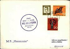 Schiffspost Schiff Ship MS HAMMONIA Jungfernreise Paquebot Stempel HONGKONG 1965