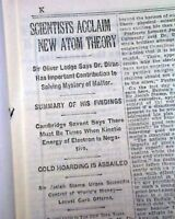 PAUL DIRAC Discovers New Atomic Theory re. Space & Matter 1930 Old NYC Newspaper