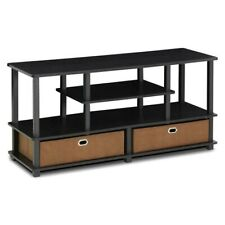 Furinno 15119EXBKBR Jaya, Large TV Stand For Up To 50-Inch TV with Storage Bin