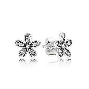 Authentic Pandora  S925/ALE Sparking Daisy Flower Earrings 290570CZ W/Pouch