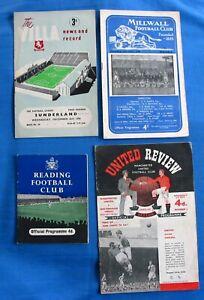 4 Different 1950's Programmes Man Utd, Villa, Millwall & Reading