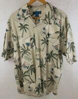 PARADISE BLUE Mens Short Sleeve Silk Hawaiian Casual Shirt Tan Brown Size XL