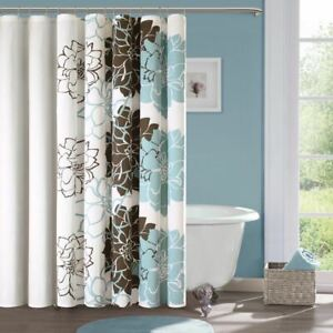 """Luxury Blue & Brown Floral Colorways Cotton Fabric Shower Curtain - 72"""" x 72"""""""