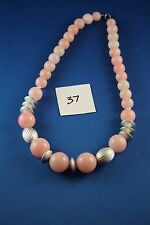 Pink White Silver Necklace 18 inch long  (37)