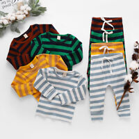 Newborn Kid Baby Boys Girl Clothes Striped Tops Long Pants Outfits Set Tracksuit